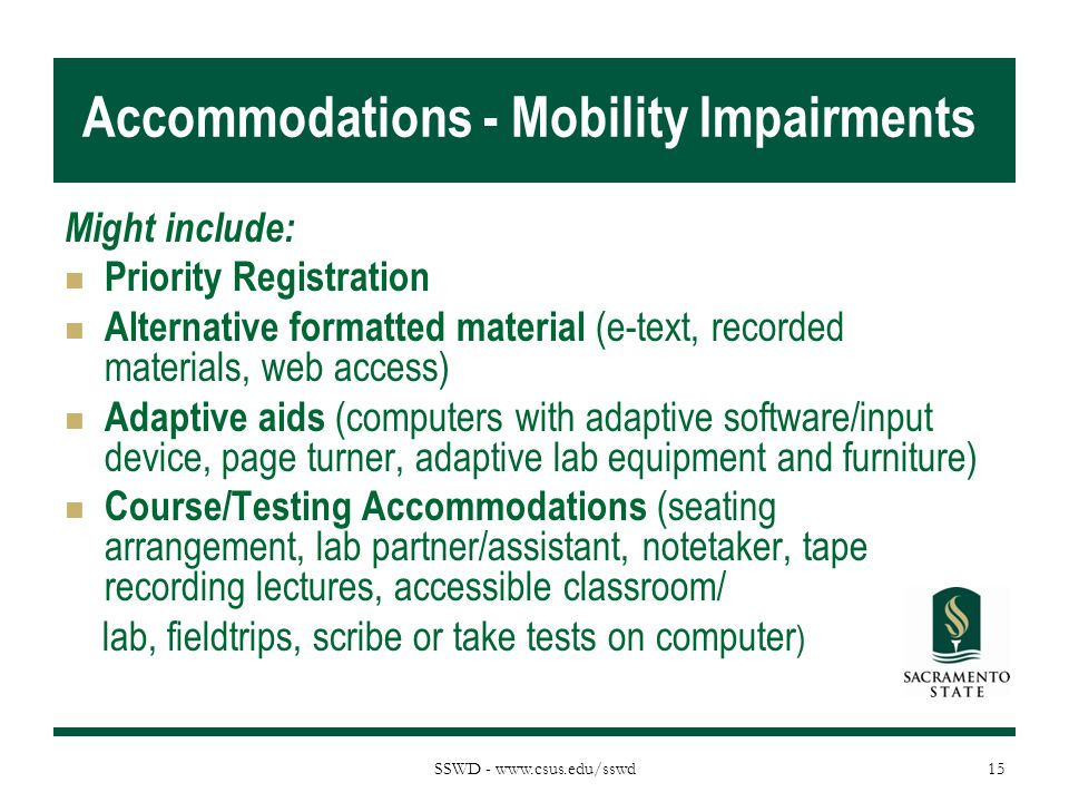 Accommodations - Mobility Impairments