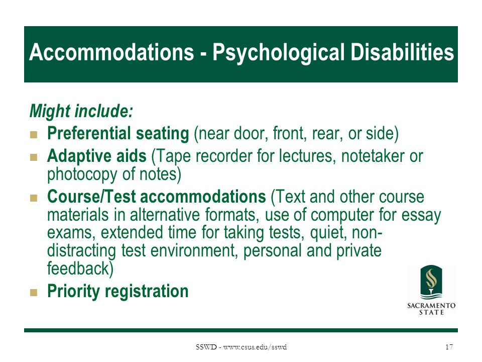 Accommodations - Psychological Disabilities