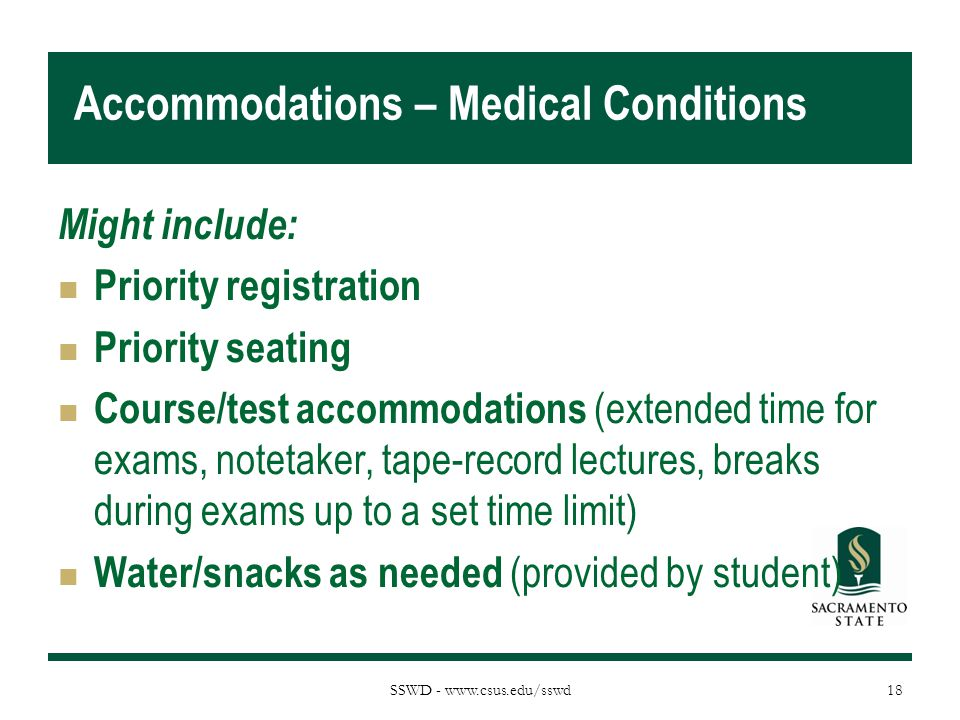 Accommodations – Medical Conditions