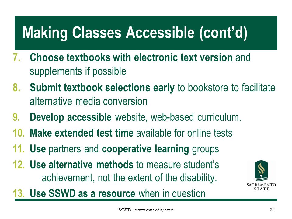 Making Classes Accessible (cont'd)
