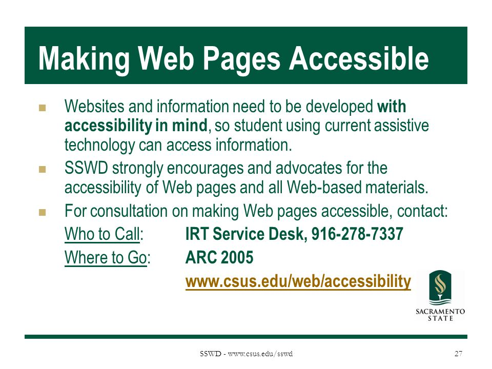 Making Web Pages Accessible