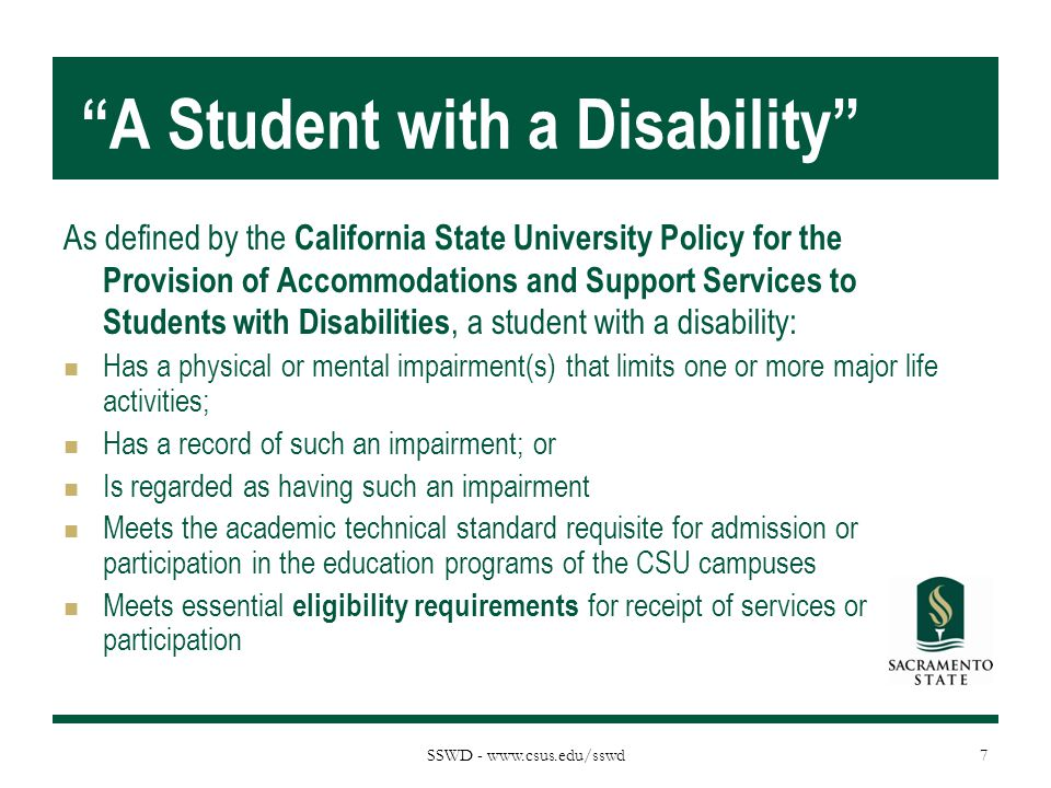 A Student with a Disability