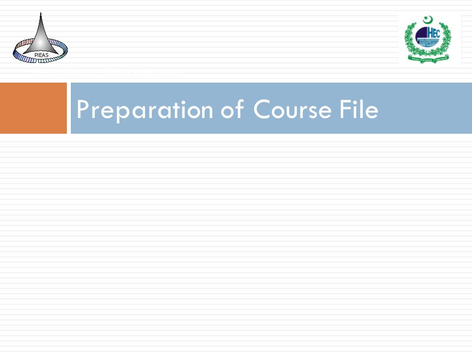 Preparation of Course File