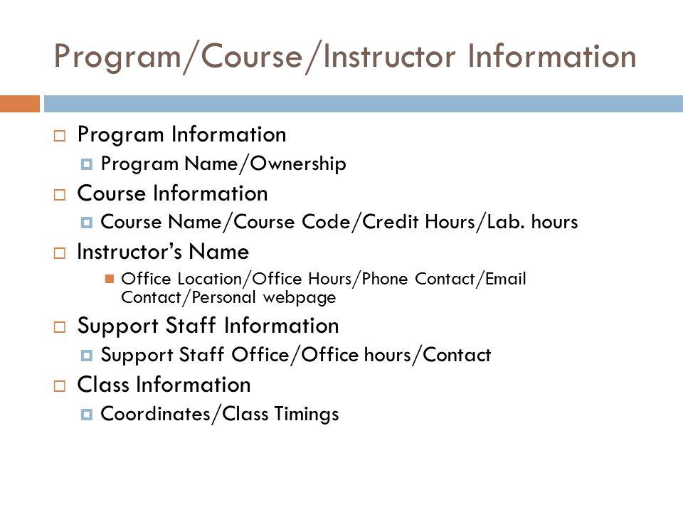 Program/Course/Instructor Information