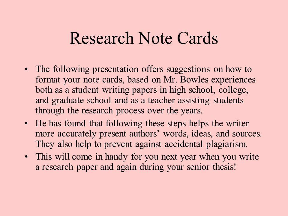 Research Note Cards