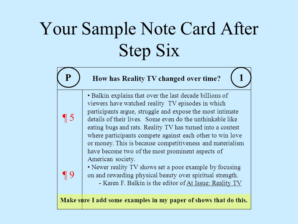 Your Sample Note Card After Step Six