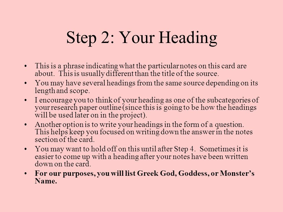 Step 2: Your Heading