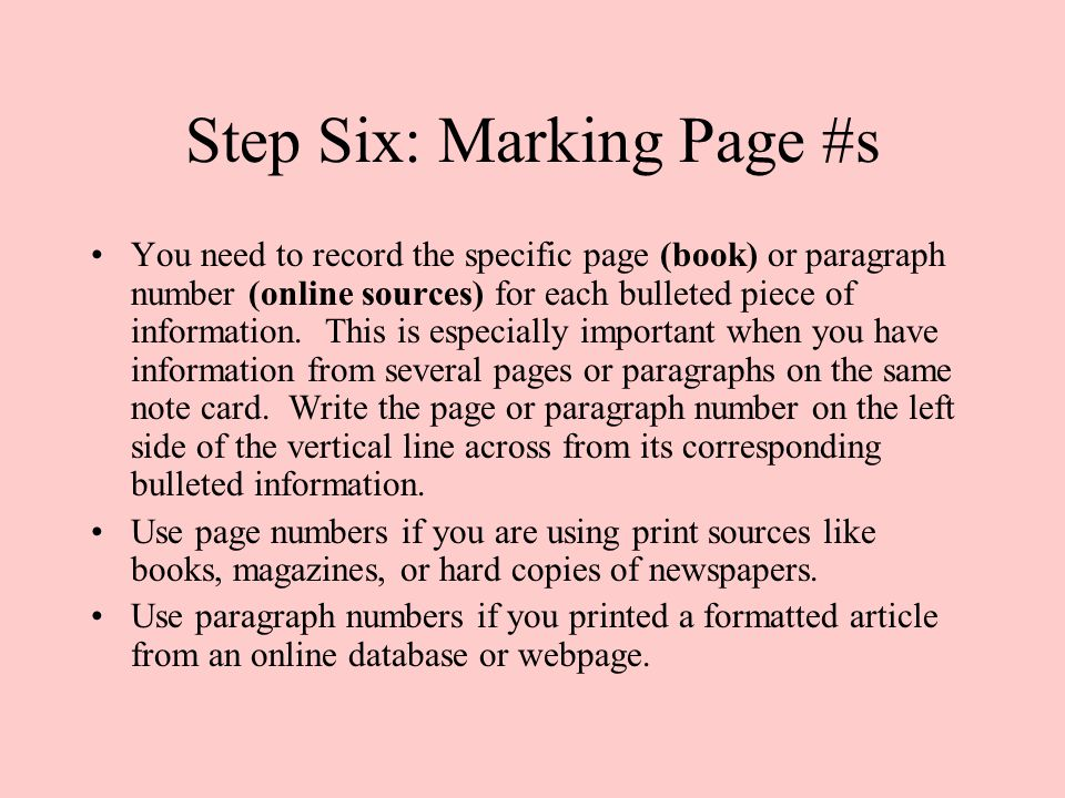 Step Six: Marking Page #s