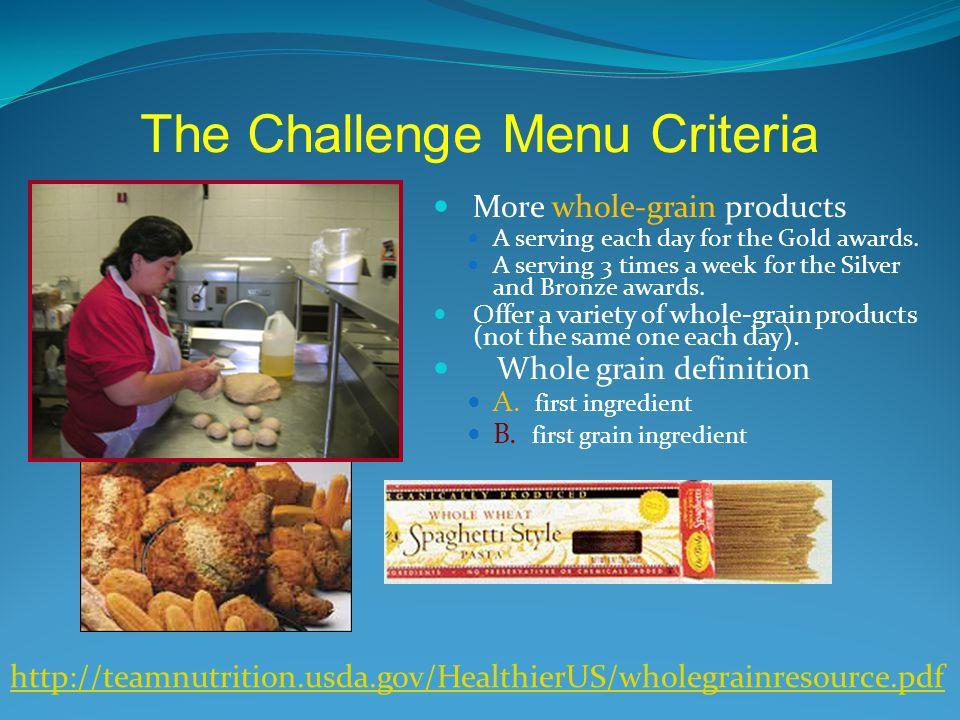 The Challenge Menu Criteria