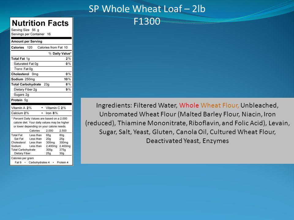 SP Whole Wheat Loaf – 2lb F1300