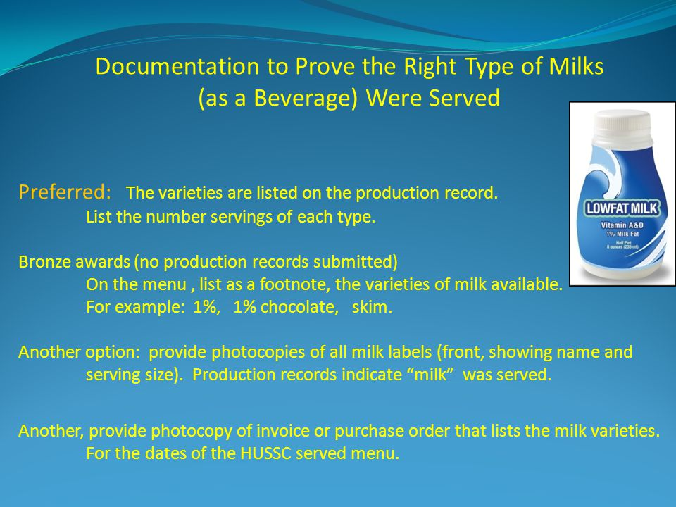 Documentation to Prove the Right Type of Milks