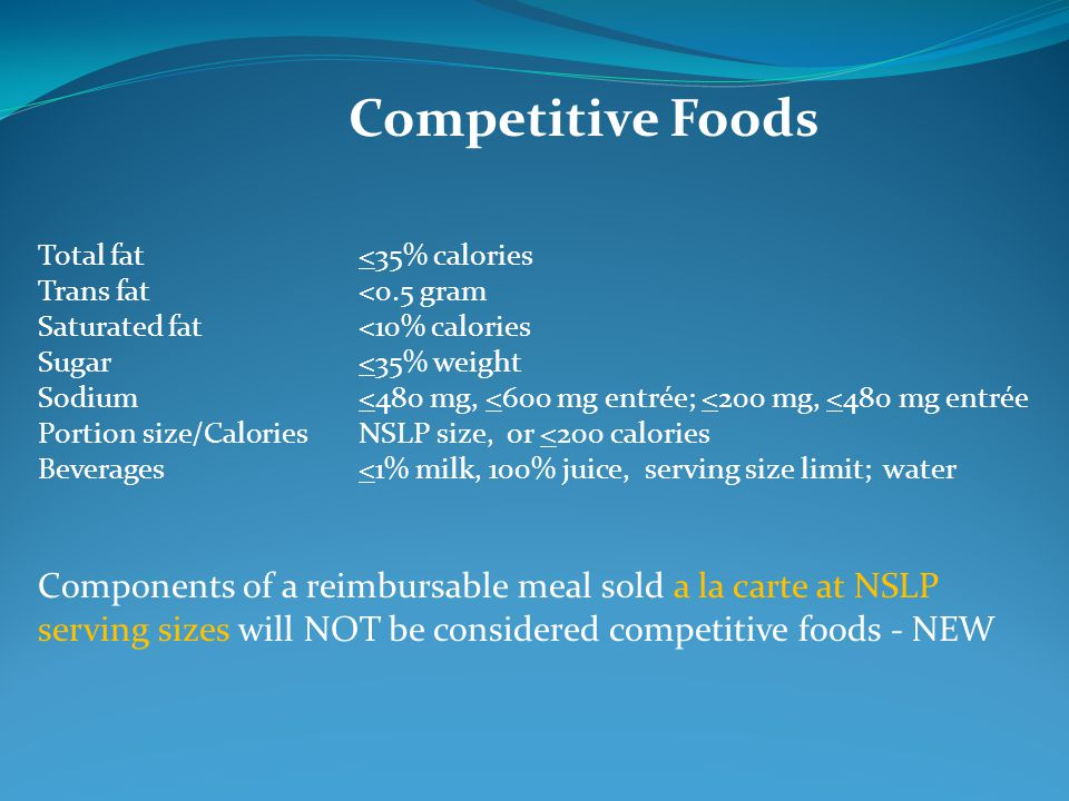 Competitive Foods Total fat <35% calories. Trans fat <0.5 gram. Saturated fat <10% calories. Sugar <35% weight.