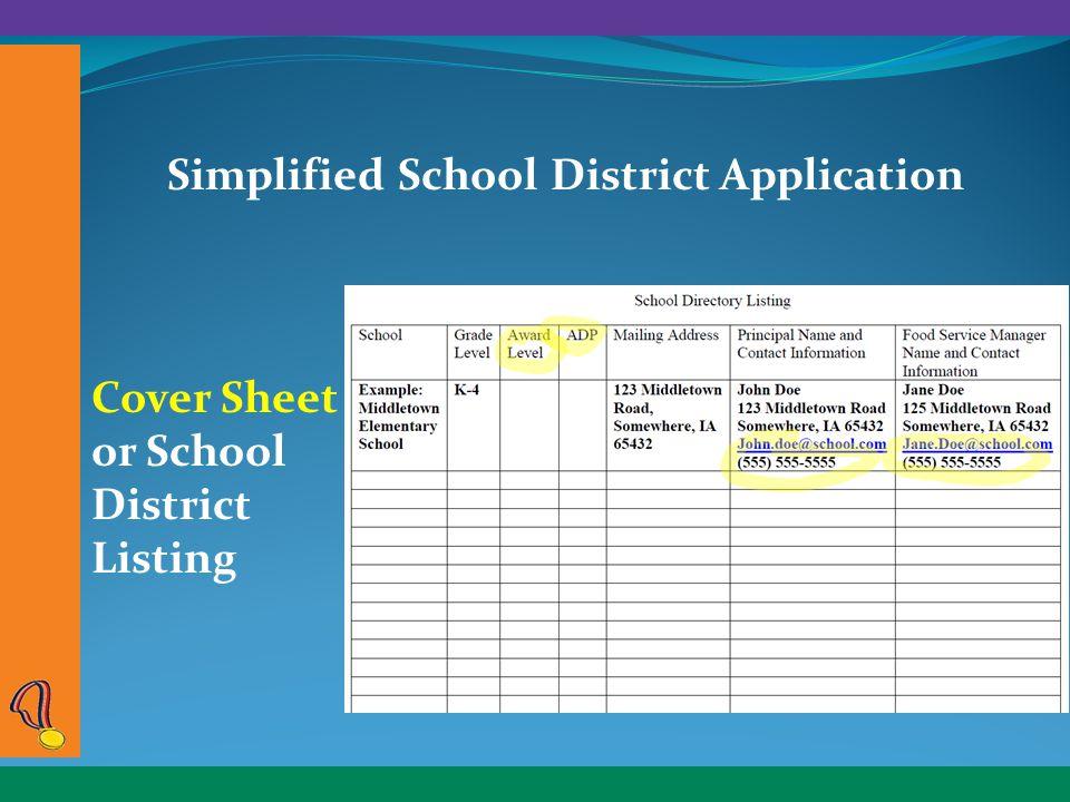 Simplified School District Application