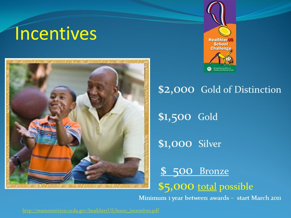 Incentives $2,000 Gold of Distinction $1,500 Gold $1,000 Silver