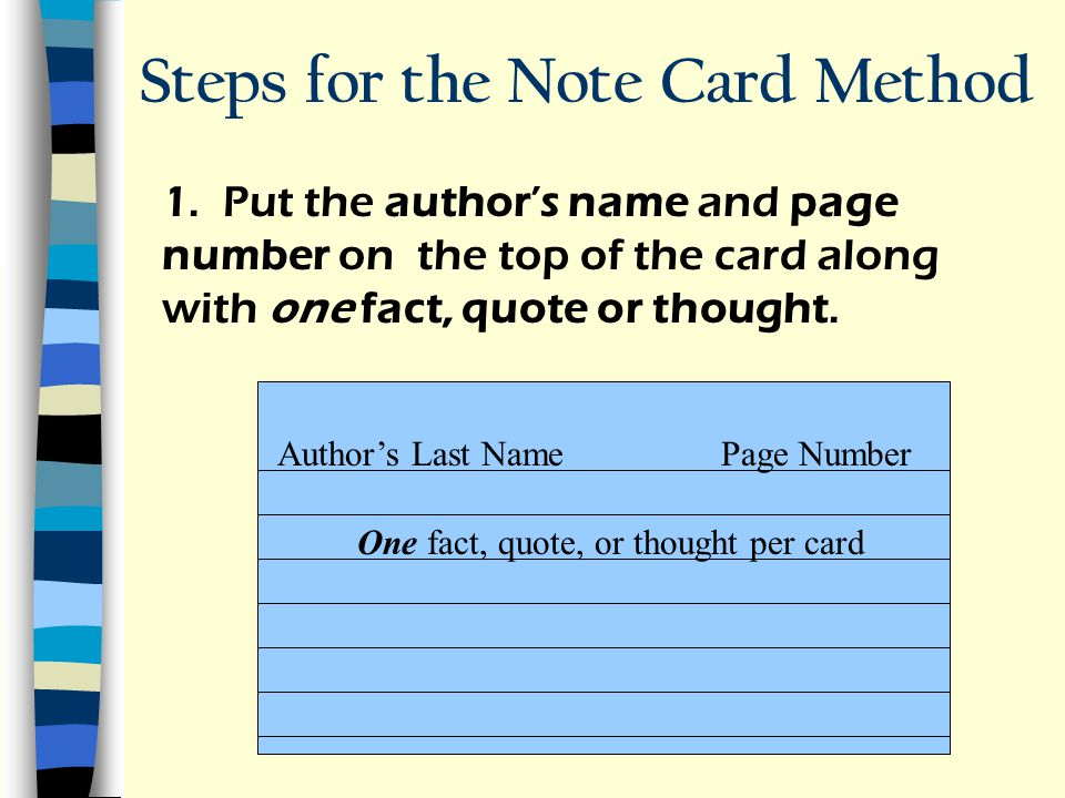 Steps for the Note Card Method