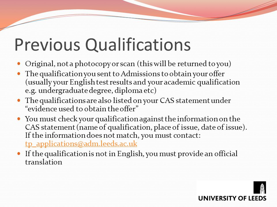 Previous Qualifications