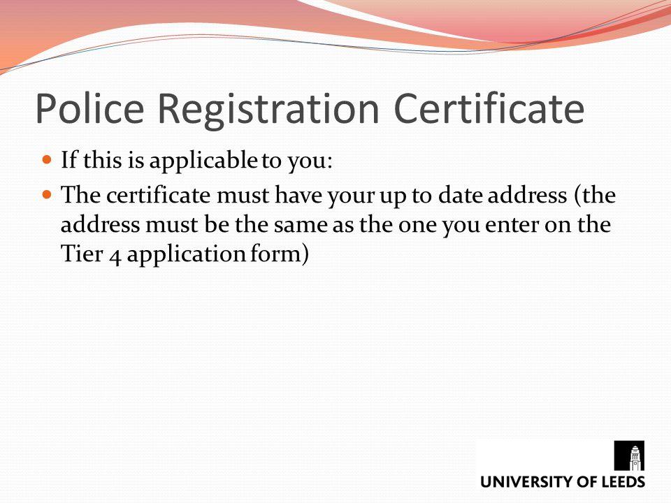 Police Registration Certificate