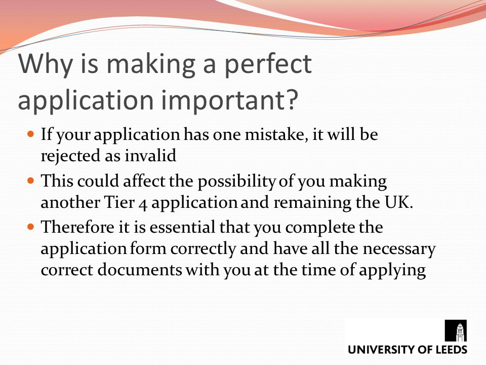 Why is making a perfect application important
