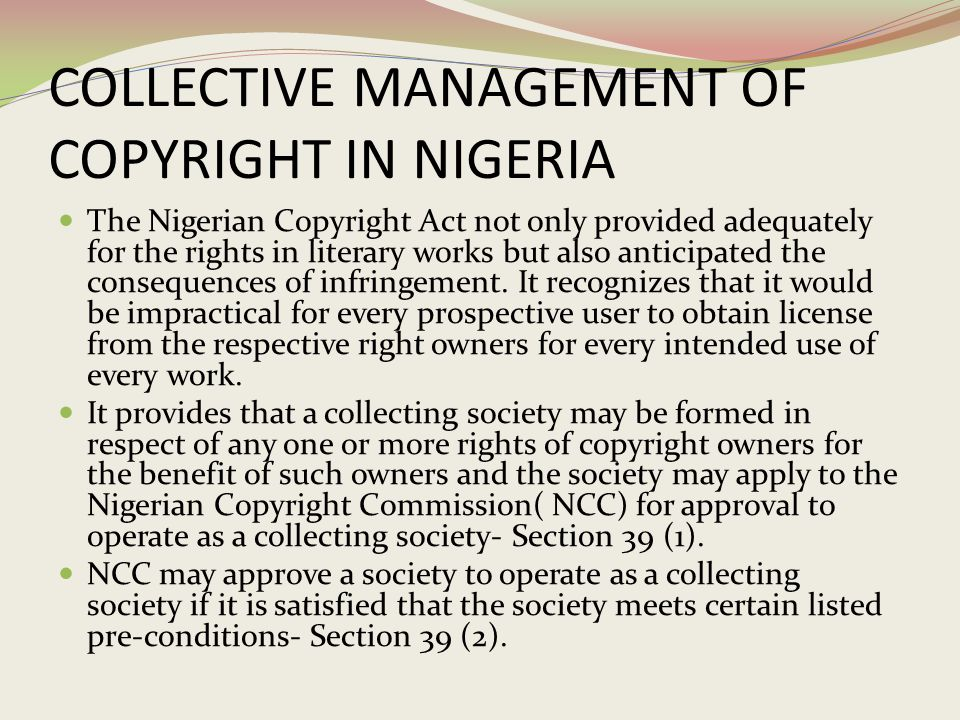 COLLECTIVE MANAGEMENT OF COPYRIGHT IN NIGERIA