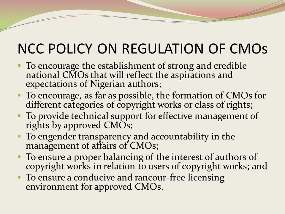 NCC POLICY ON REGULATION OF CMOs