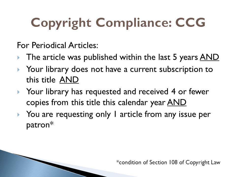Copyright Compliance: CCG