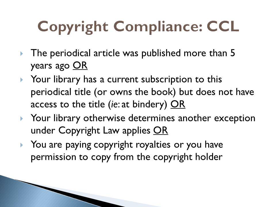 Copyright Compliance: CCL