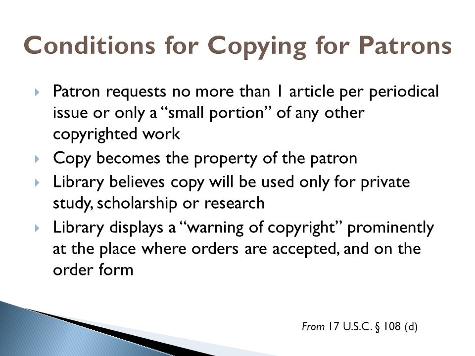 Conditions for Copying for Patrons