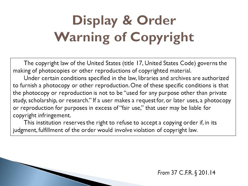 Display & Order Warning of Copyright
