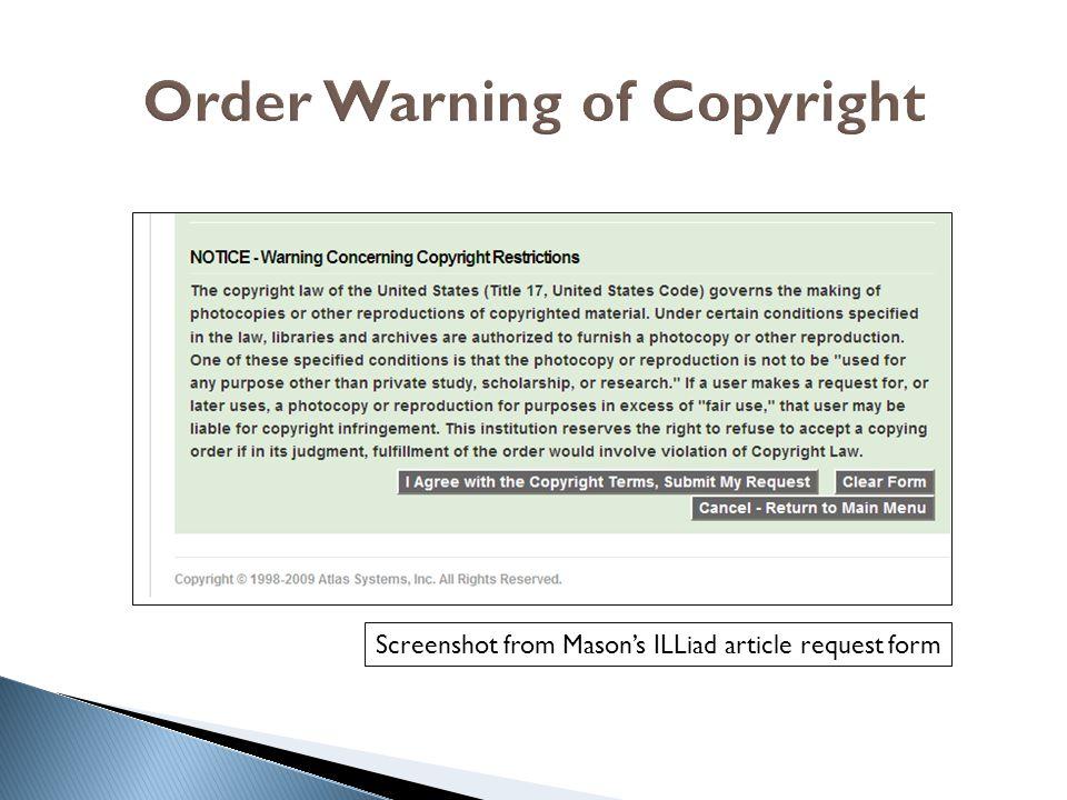 Order Warning of Copyright