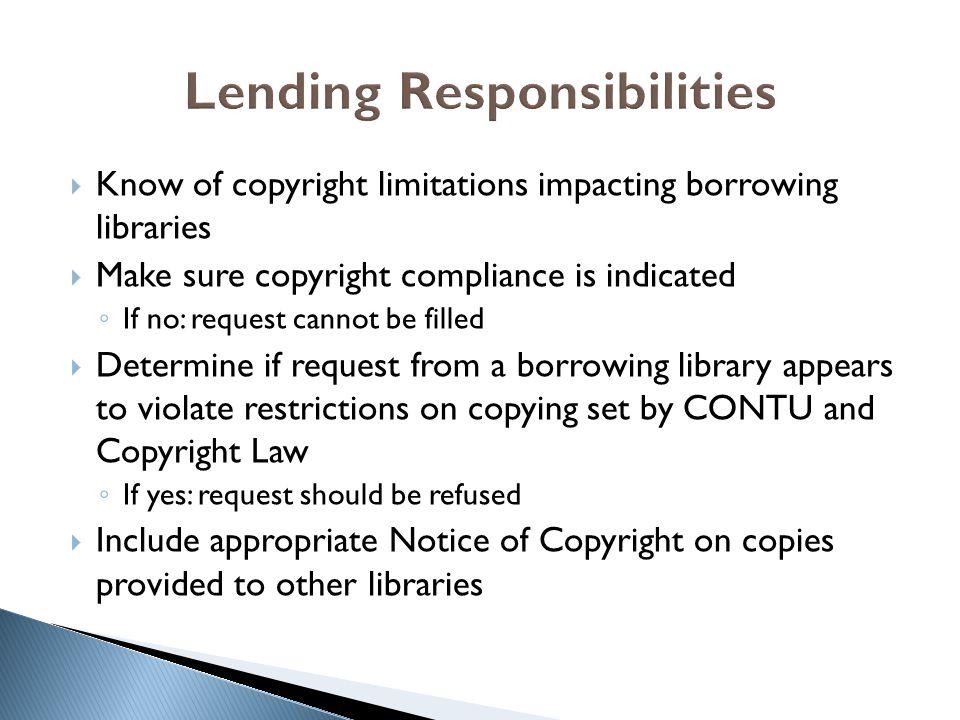 Lending Responsibilities