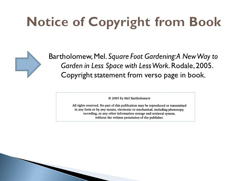 Notice of Copyright from Book