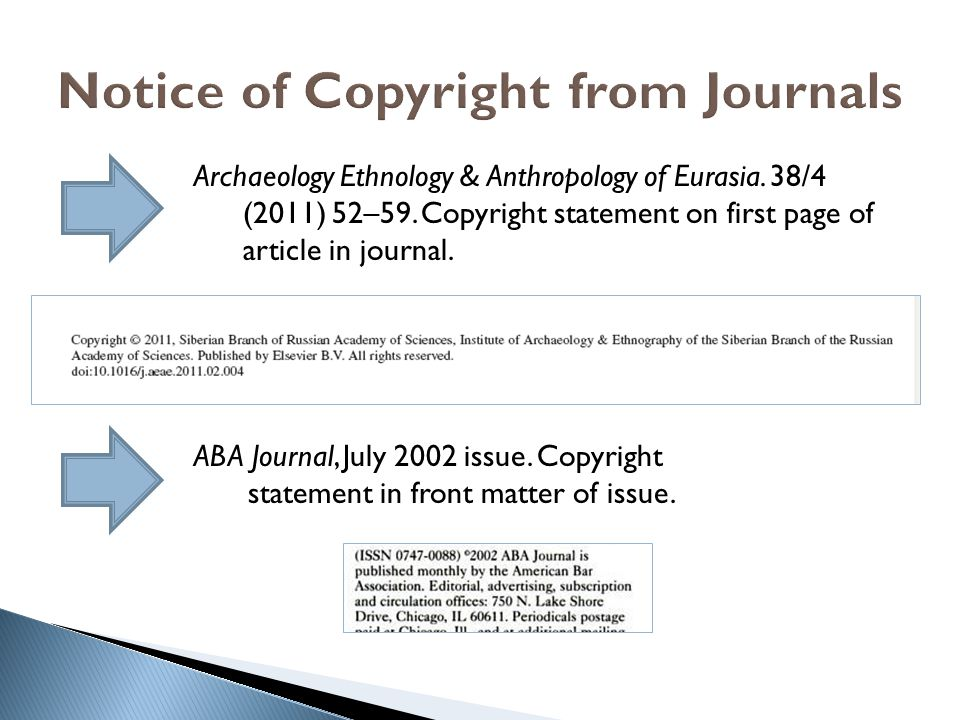 Notice of Copyright from Journals
