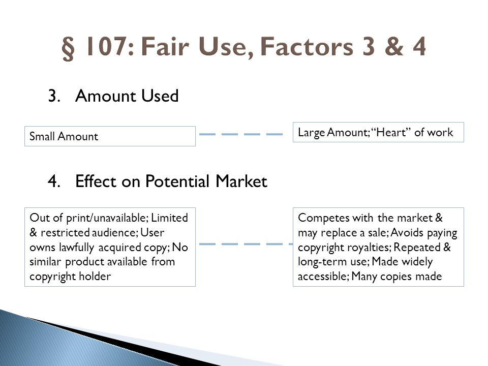 § 107: Fair Use, Factors 3 & 4 Amount Used Effect on Potential Market