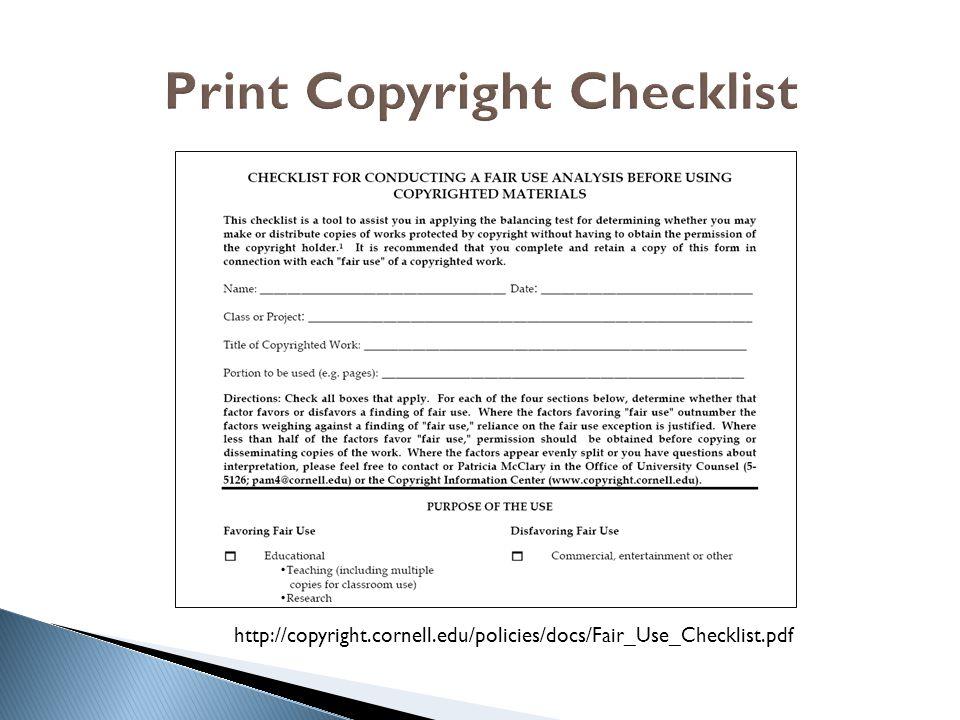 Print Copyright Checklist