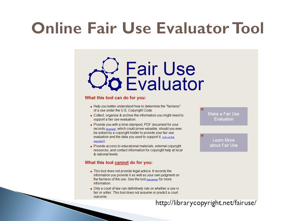 Online Fair Use Evaluator Tool