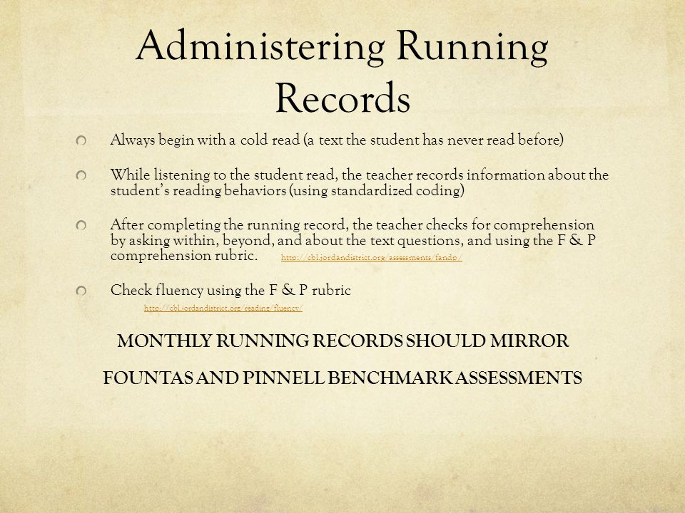 Administering Running Records