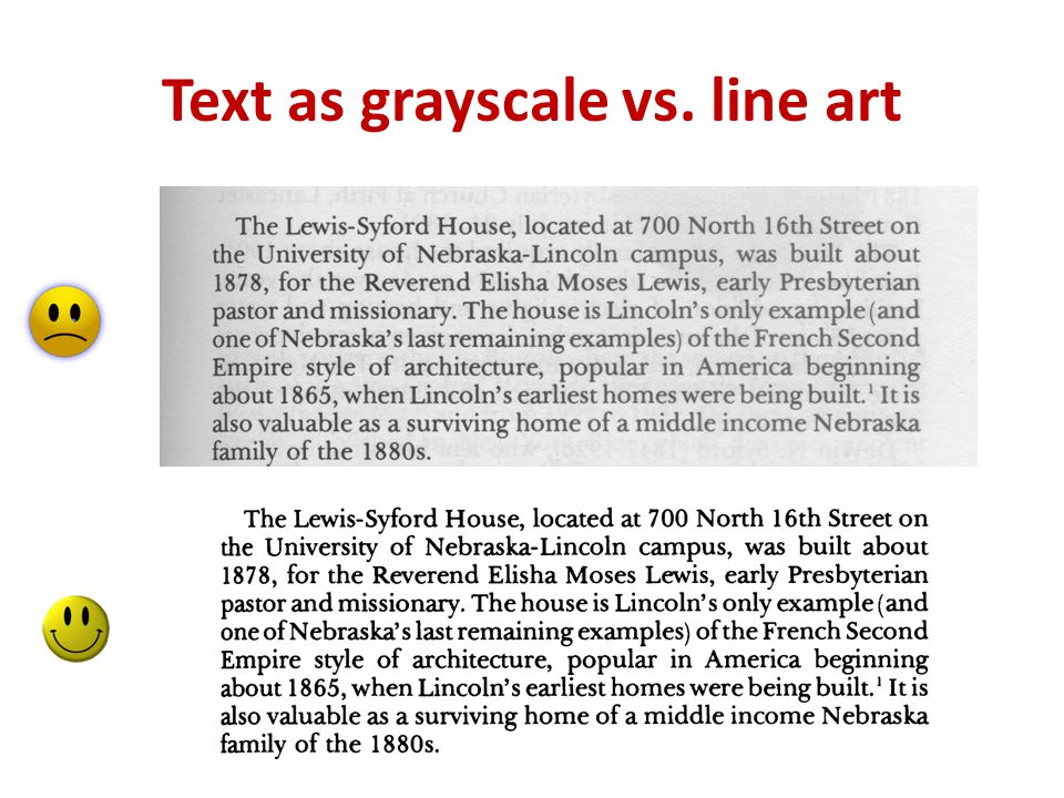 Text as grayscale vs. line art