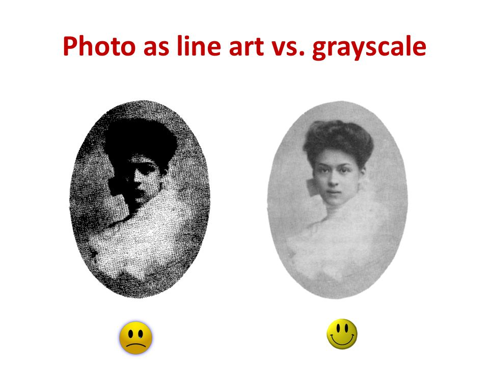 Photo as line art vs. grayscale