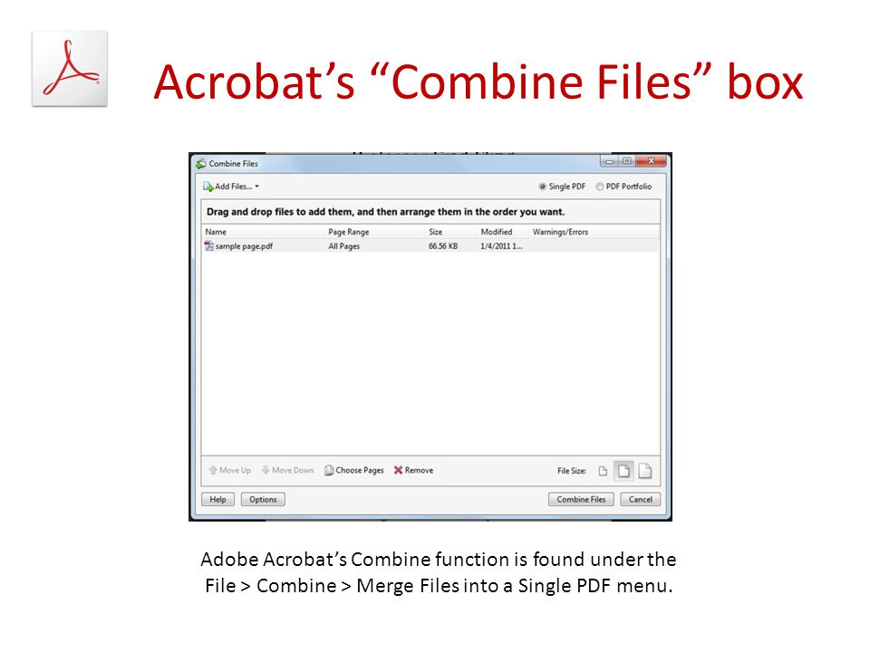 Acrobat's Combine Files box