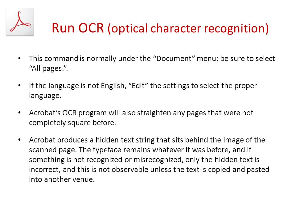 Run OCR (optical character recognition)