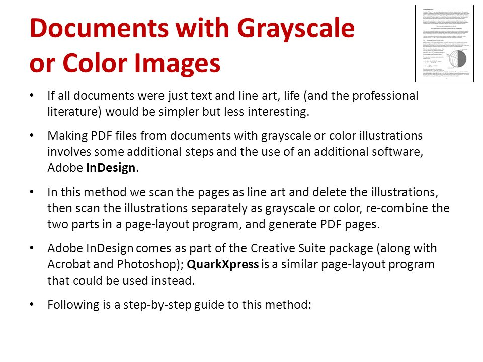 Documents with Grayscale or Color Images