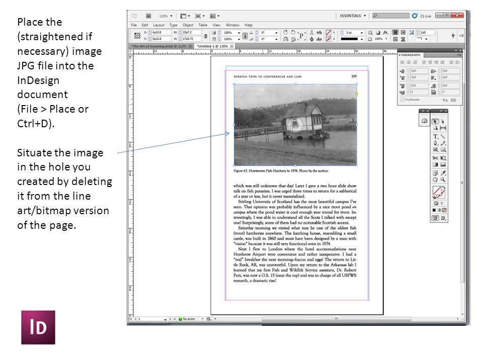 Place the (straightened if necessary) image JPG file into the InDesign document