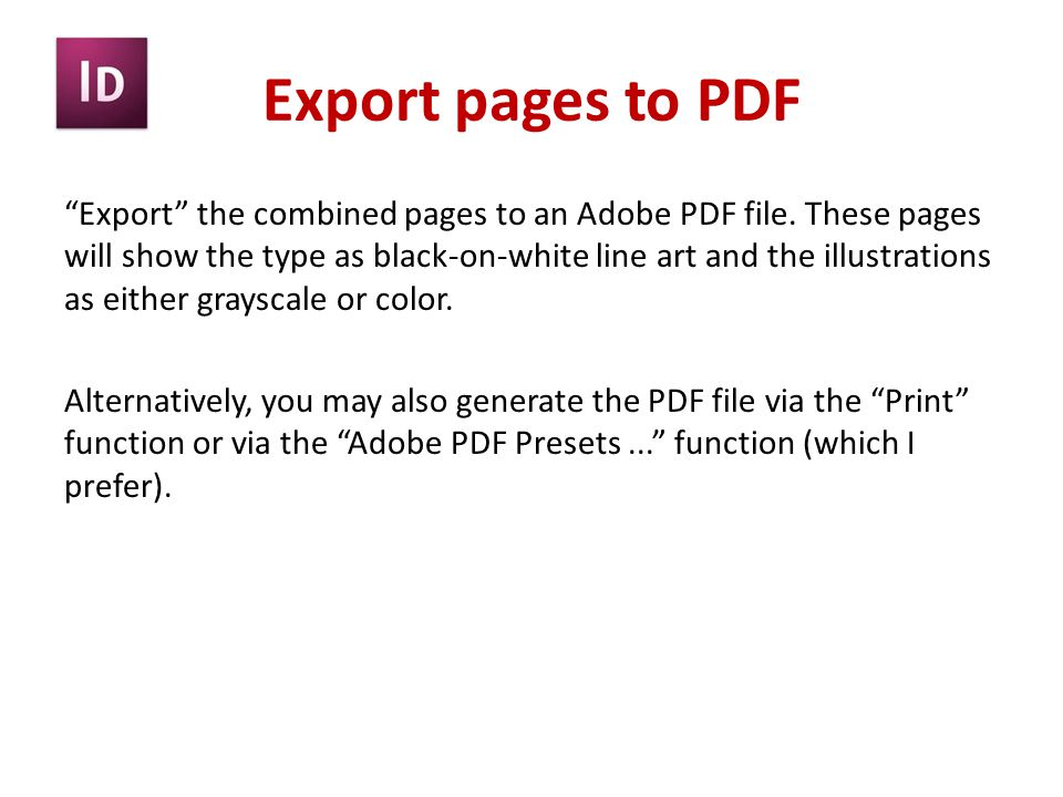 Export pages to PDF