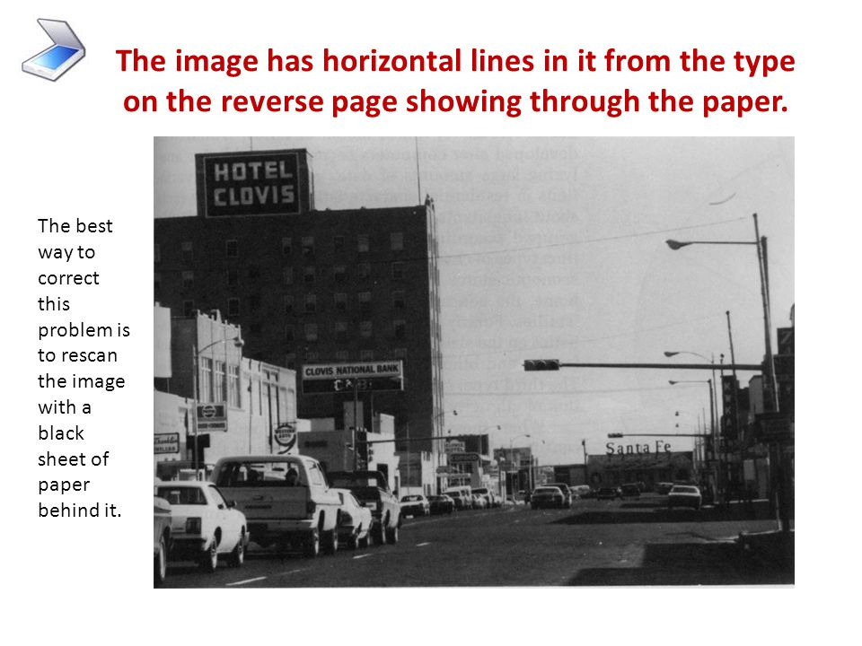 The image has horizontal lines in it from the type on the reverse page showing through the paper.