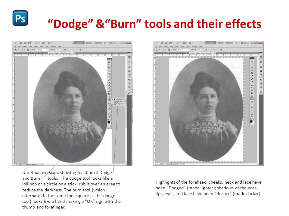 Dodge & Burn tools and their effects