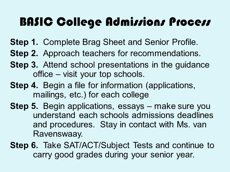 BASIC College Admissions Process