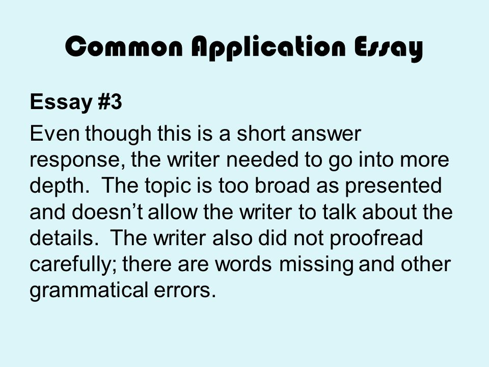 common app essay questions Answering the common application essay questions in getting your application to the university or college of your choice, the application essay is a very important.