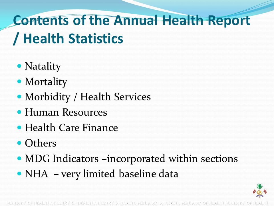 Contents of the Annual Health Report / Health Statistics