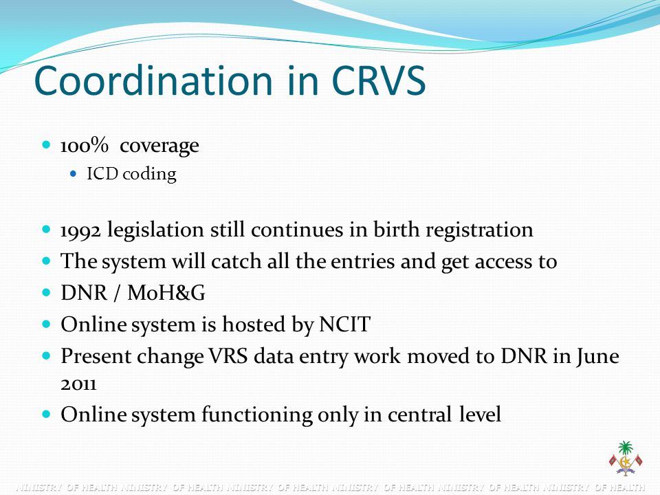 Coordination in CRVS 100% coverage