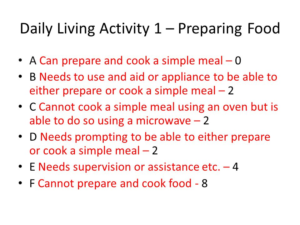 Daily Living Activity 1 – Preparing Food